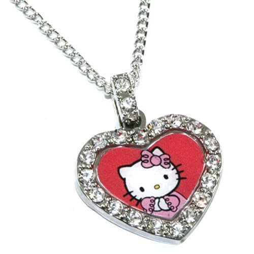 Licensed Sanrio Hello Kitty Red Heart Charm Necklace with Czech Crystals