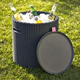 Keter Cool Bar Cool Stool Faux Rattan Garden Beer & Drinks Cooler Table 39L