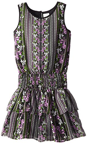 Splendid Big Girls' Jody Printed Dress, Black, 7-8 front-1017430