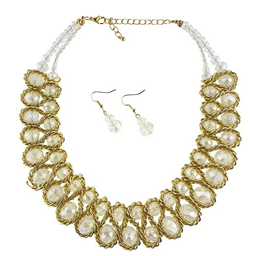 [Rosemarie Collections Women's Elegant Crystal Collar Statement Necklace Earrings Gift Set] (Father Of The Year Costume)