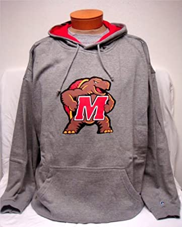 New! Gray NCAA University of Maryland Terps Logo L/S Pullover Hoodie 2XL TALL : Everything Else