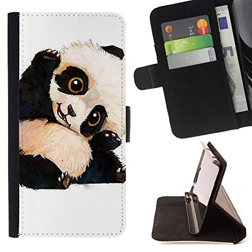 Flip Credit Card Slots PU Holster Leather Wallet Pouch Protective Skin Case Cover Apple iPhone SE / iPhone 5 / iPhone 5S , ( Cute Baby Panda Bear Kids Children'S ) (Panda Bear Phone Case compare prices)