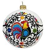 Blown-Glass Ball Ornament - Wycinanki, Rooster Folk Art 4 in