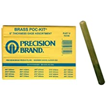 "Precision Brand 76740  Brass Thickness Feeler Gage Poc-Kit Assortment, 1/2"" Width, 5"" Length, 20 Blades"