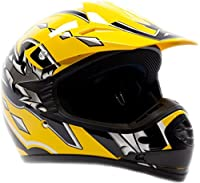 Youth Offroad Gear Combo Helmet & Goggles DOT Motocross ATV Dirt Bike MX Motorcycle Yellow Black, XL by Typhoon Helmets