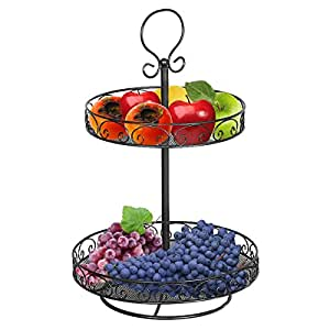 Vdomus 2 tier wire countertop fruit basket fruit bowl vegetable organizer storage - Tiered fruit bowl ...