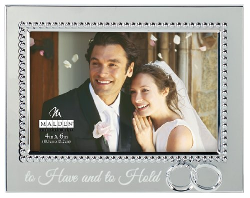 Malden International Designs Wedding 'Just Married' Double Hearts Metal Picture Frame