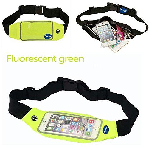 Adela Shop Waist Belt Case Fit iPhone 6 Plus,Samsung galaxy S6/S6 Edge,galaxy Note 4,LG G4 Almost Smartphones,Adjustable Lightweight Zipper Pocket Water Resistant Expandable Runners Waist Belt (green)