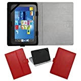 """ACM LEATHER FLIP FLAP TABLET HOLDER CARRY CASE STAND COVER FOR FUJEZONE SMART 7"""" TAB RED"""