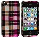 myLife Pink Plaid Series (2 Piece Snap On) Hardshell Plates Case for the iPhone 4/4S (4G) 4th Generation Touch Phone (Clip Fitted Front and Back Solid Cover Case + Rubberized Tough Armor Skin)