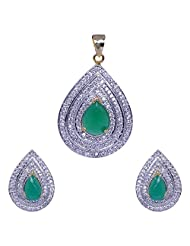 Gehna American Diamond & Green Jade Stone Studded Pear Shape Pendant & Earring Set