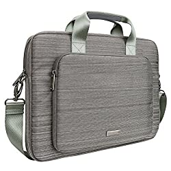Evecase 15 - 16 Inch Stylish Handle Universal Suit Fabric Multi-functional Briefcase with Shoulder Strap for Laptop Ultrabook Computer - Gray (ACER ASUS HP SONY TOSHIBA DELL LENOVO SAMSUNG APPLE)