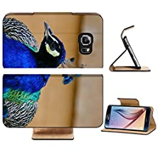 buy Samsung Galaxy S6 Flip Wallet Case Liili Premium A Closeup Of Beautiful Peacock With Colorful Feathers Image Id 19105236