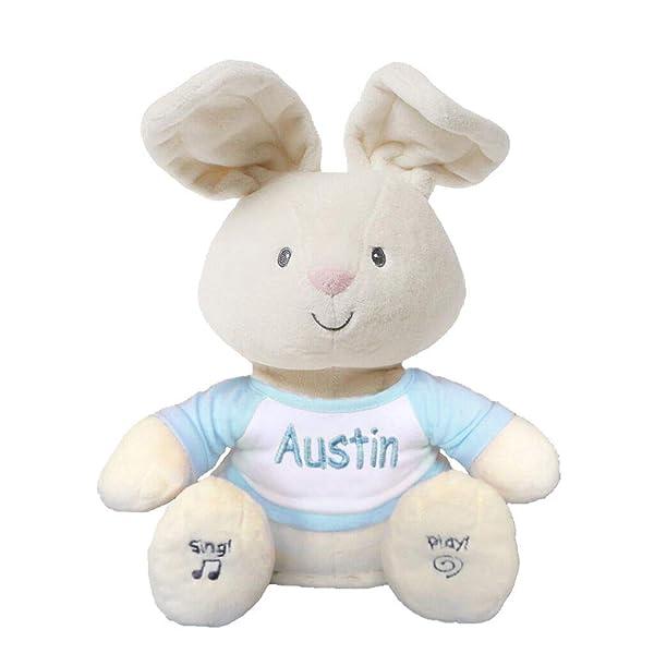 Personalized Peek A Boo Plush Toy (Peek A Boo Bunny - Blue) (Color: Peek A Boo Bunny - Blue)