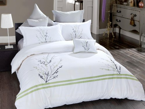 "7 Pcs Poly Cotton Floral Embroidered Duvet Cover Bedding Set Machine Washable 90""X92"" Queen Size front-1054213"