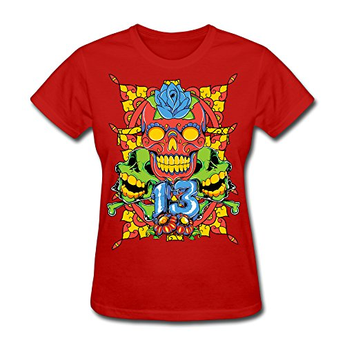 Women's Colorful Skull Short Sleeve T-Shirt Red XL (Gamecock Candy Jar compare prices)
