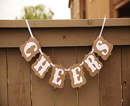 Qadira CHEERS Classical Vintage Wedding Home Party Decoration Bunting Banner