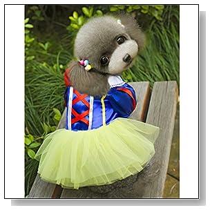 Pet Dog Snow White Disney Halloween Dress Costume Outfit Princess Clothes S
