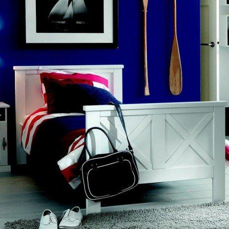 Alfred & Compagnie - Gaspard lit à croisillons 90x200 laqué blanc