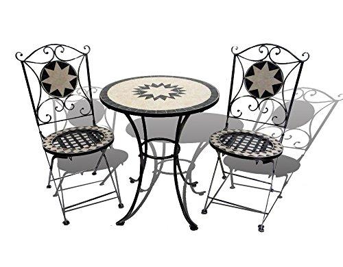 Hut Garden-Set da giardino con mosaico, 1 tavolo e 2 sedie pieghevoli in ferro battuto