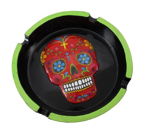 Red Sugar Skull Mexican Day of the Dead Dia de Los Muertos Ashtray
