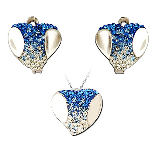 Exxotic Fashion Sterling Silver Blue & White American Diamond Earring Pendant Set For Women