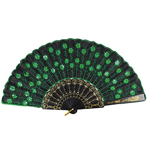 Newstarfactory Peacock Feather Green Sequins Design Black Plastic Folding Hand Fan With Special Gift