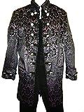 Perpetual Vogue Brocade Rocker Stage Coat Fully Lined Plum Black