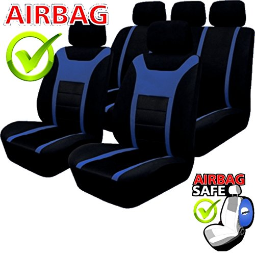 kmhsb203 set housse de si ge noir bleu prot ge si ge coussin d assise avec pages airbag. Black Bedroom Furniture Sets. Home Design Ideas