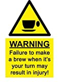 A5 Comedy Workplace Tea Coffee Break Machine Sticker Spillage Chemical Accident Self adhesive vinyl 150mm x 200mm