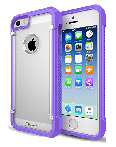iPhone 5 / 5S / 5SE Case, Sivart Apple Case Shock-Absorption Bumper Anti Scratch Clear Back Ultra Thin Phone Case for iPhone 5S 4 Inch (Purple) (Cool Iphone 4s Back Glass compare prices)