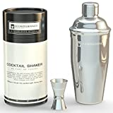 Cocktail Shaker by Bar Brand co. Professional Bar set - 24 oz. Drink Mixer, Built in Strainer and Free Jigger. Premium Drink Shaker Gift.
