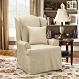 51%2BgPyv3POL. SL160  Sure Fit Twill Supreme Wing Chair Slipcover, Flax