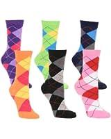 Women's Fun and Colorful Crew Sock 6 Packs
