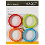 4 Inch Silicone Fried Egg Mold Rings - Pancake Mold Pack of 4 - One of Each Color- For Breakfast, Lunch, Dinner - Great Cooking Accessory & Gift Idea - By Kitch N' Wares