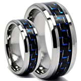 His & Hers 8MM/6MM Tungsten Carbide Wedding Band Ring Set With Blue Carbon Fiber Inlay (Available Sizes 5-15 Including Half Sizes)