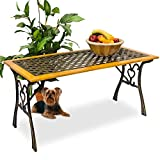 Massiver-Gartentisch-aus-Holz-und-Gusseisen-in-Landhausstil-Holztisch-Beistelltisch-Terrassentisch