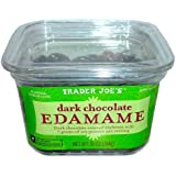 3 Pack Trader Joe's Dark Chocolate Edamame Dark Chocolate Covered Soybeans with 7 Grams of Soy Protein Per Serving No Gluten Ingredients Used 10 Oz / 284 G About 7 Servings