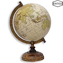 EnticeSelections Antique Handicrafted Big Desktop Rotating Globe Earth Geography World Globes Ocean Table Décor 8 Inch