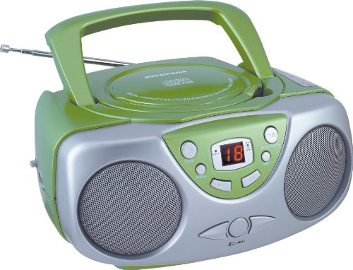 Sylvania SRCD243 Portable CD Player with AM/FM Radio, Boombox (Green)