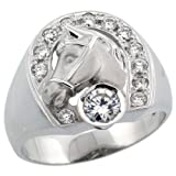 Sterling Silver Mens Horse Shoe & Head Ring w/ Brilliant Cut CZ Stones, 11/16 in. (17.5mm) wide, size 13