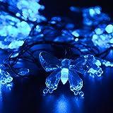 lederTEK Solar Christmas Lights 24.6ft 7.5m 40 LED 8 Modes Solar Light String Butterfly Solar Fairy String Lights for Outdoor - Gardens - Homes - Wedding - Christmas Party - Waterproof (40 LED Blue)