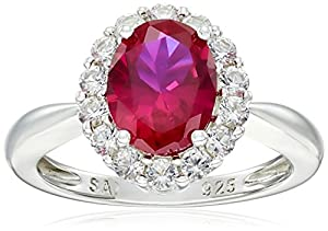 Sterling Silver Created Ruby and Created White Sapphire Ring, Size 8 by The Aaron Group - HK DI