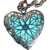 Steampunk Fairy Magical Fairy Glow in the Dark Necklace-aqua-sil