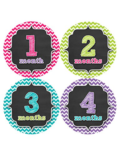 Months in Motion 331 Monthly Baby Stickers Baby Girl Chevron Months 1-12