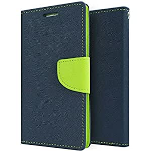 Americhome Artificial Leather INSIDE SILICONE WITH CASH POCKET FLIP COVER FOR Htc Desire 820 Blue