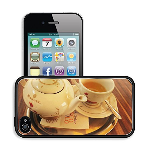 Luxlady Premium Apple iPhone 4 iPhone 4S Aluminum Backplate Bumper Snap Case Teapot Teacup Teeservice Teatime Image 484786 (Space Cup Tee compare prices)