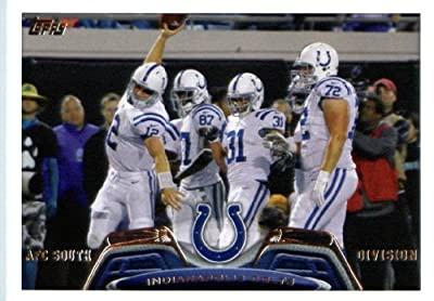 2013 Topps Football Card #429 Andrew Luck / Reggie Wayne / Donald Brown / Jeffrey Linkenbach - Indianapolis Colts (Team Card) NFL Trading Cards