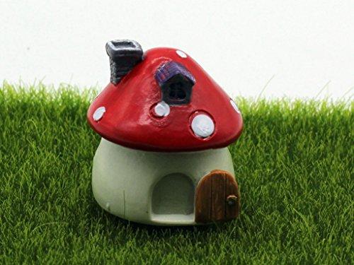 Rote Pilzhaus aus Harz Haus-Ausschmückung Mini-Welt Mini-Natur Mini-Szene Kunstliche Fee-Verzierung