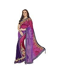 Indian Fantastic Purple Colored Embroidered Net Chiffon Lehenga Saree By Triveni